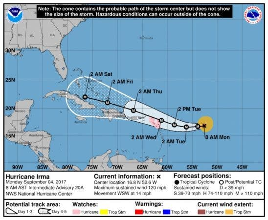 Trayectoria pronosticada del huracán Irma, actualizada a las 08:00 de la mañana.