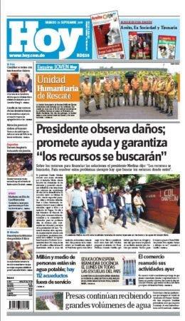 Portada edicion impresa Hoy sabado 23 septiembre ,2017
