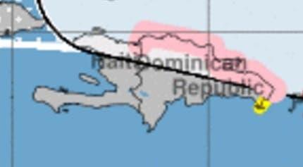 Miami declara alerta de huracán desde Cabo Engaño hasta la Bahía de Manzanillo en Monte Cristi. Las localidades marcadas en rosado serían las más afectadas por Irma.