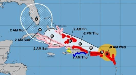 Trayectoria actualizada de Irma. Foto: Centro Nacional de Huracanes.
