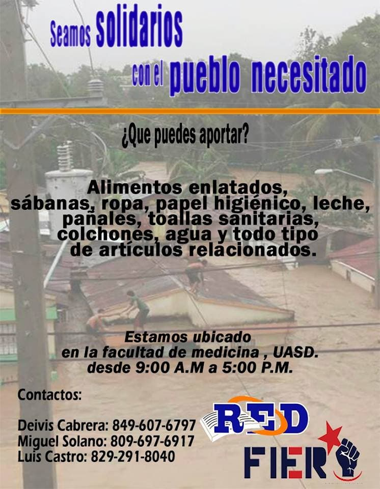 ¡ATENCIÓN! En la UASD están recibiendo donaciones para damnificados de huracán María