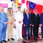 El presidente Danilo Medina durante su visita al Buque de la Armada Peruana