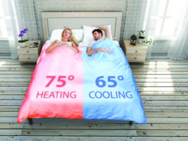 Este sistema permite que una mitad del edredón esté más cálida y que la otra mitad esté más fresca.