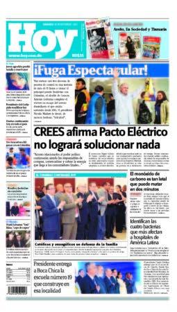 portada Edicion impresa HOY ,sabado 18 de noviembre ,2017