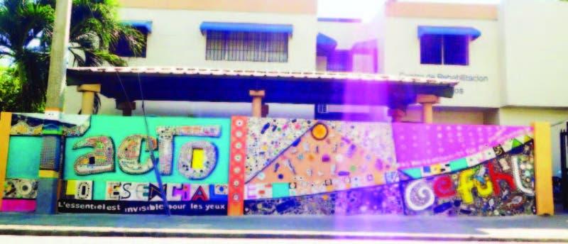 Este es el mural plasmado en la pared del Patronato Nacional de Ciegos que será inaugurado hoy