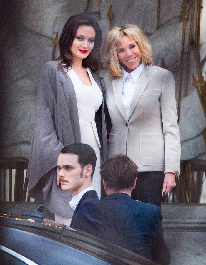 Angelina Jolie recibida por Brigitte Macron en París tras visitar Jordania