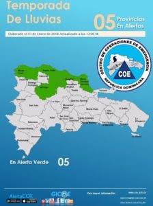 coe emite alerta en cinco provincias