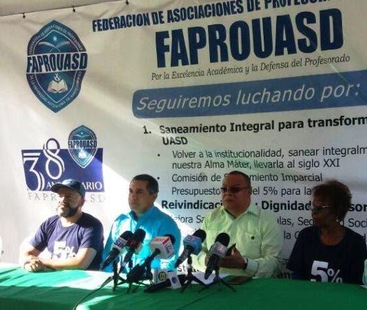 la Federación de Asociaciones de Profesores de la Universidad Autónoma de Santo Domingo ( Faprouasd) anunciara en rueda de prensa que ellos (los maestros) no laborarán mañana.