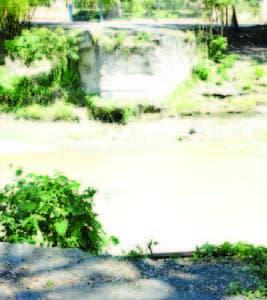 Área afectada por falta de puente.