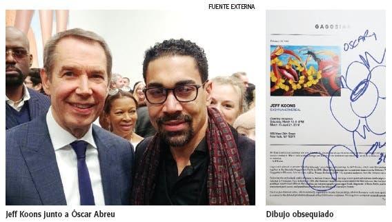 Jeff Koons obsequia dibujo a Óscar Abreu