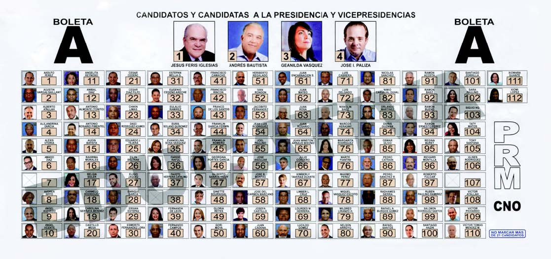 Muestra de la boleta A para los candidatos a la presidencia y la vicepresidencia del PRM, que se utilizará en la convención del domingo 18.