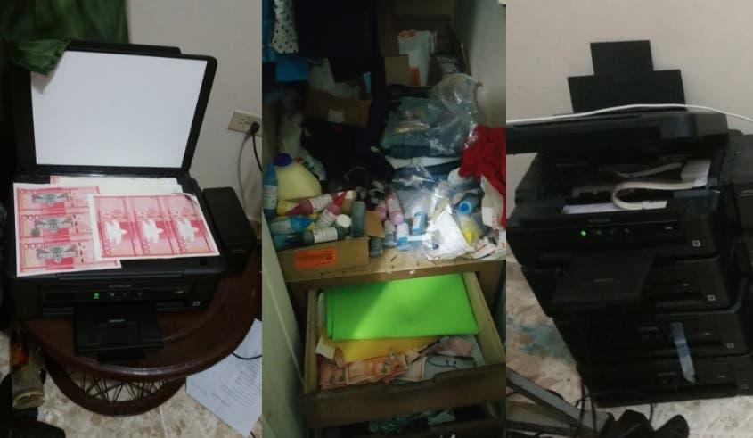 Con 15 impresoras, hombre y mujer fabricaban cientos de billetes falsificados de RD$1000 en Santiago