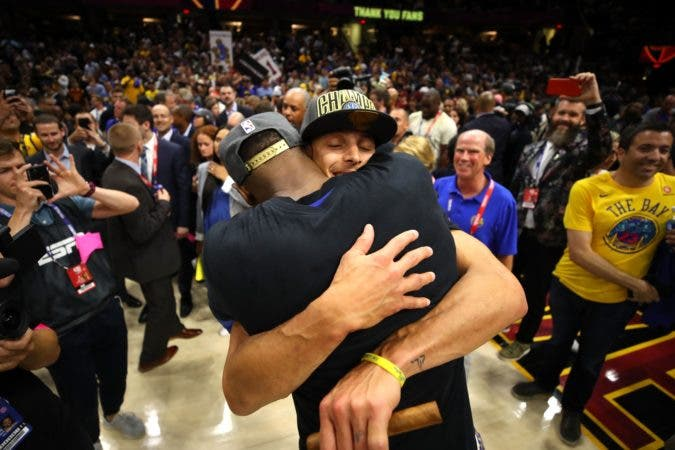 11. CLEVELAND, OH - JUNE 08: Kevin Durant #35 and Stephen Curry #30 of the Golden State Warriors celebrate after defeating the Cleveland Cavaliers during Game Four of the 2018 NBA Finals at Quicken Loans Arena on June 8, 2018 in Cleveland, Ohio. The Warriors defeated the Cavaliers 108-85 to win the 2018 NBA Finals. NOTE TO USER: User expressly acknowledges and agrees that, by downloading and or using this photograph, User is consenting to the terms and conditions of the Getty Images License Agreement.   Gregory Shamus/Getty Images/AFP == FOR NEWSPAPERS, INTERNET, TELCOS & TELEVISION USE ONLY ==