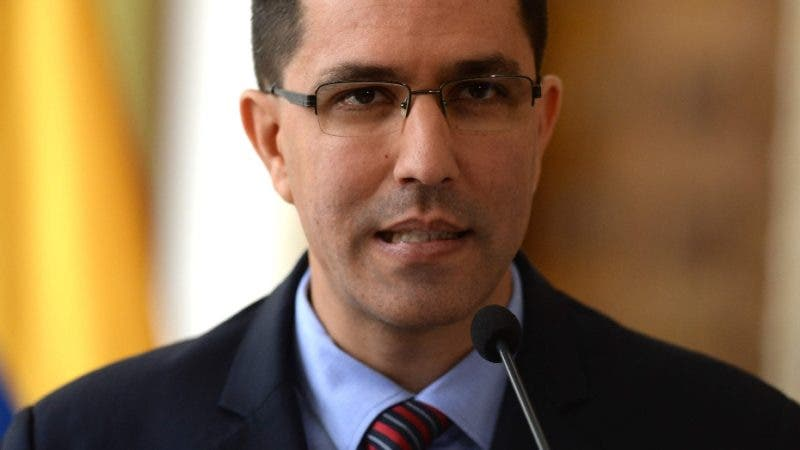 """Venezuelan Foreign Minister Jorge Arreaza speaks in Caracas on August 12, 2017 during a meeting with members of the diplomatic corps. US President Donald Trump said Friday he was considering military options as a response to the escalating crisis in Venezuela, a move the South American country quickly shot down as """"craziness."""" / AFP / Federico Parra"""