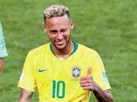 Brazil's Neymar gives thumb-up after winning 2-0 during the group E match between Serbia and Brazil, at the 2018 soccer World Cup in the Spartak Stadium in Moscow, Russia, Wednesday, June 27, 2018. (AP Photo/Antonio Calanni)