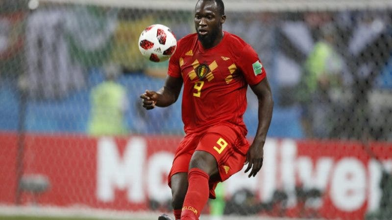 Belgium's Romelu Lukaku controls a ball during the quarterfinal match between Brazil and Belgium at the 2018 soccer World Cup in the Kazan Arena, in Kazan, Russia, Friday, July 6, 2018. (AP Photo/Francisco Seco)