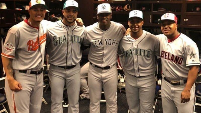 Manny Machado, Nelson Cruz, Luis Severino, Jean Segura y José Ramírez. Juego de Estrellas 2018 en Washington. Foto/Instagram Nelson Cruz @NCBoomstick23