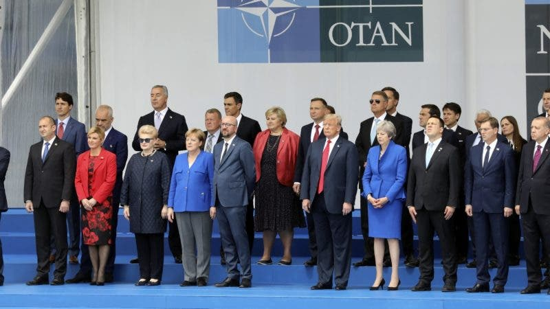 NATO heads of State pose for a family picture during the opening ceremony of the NATO (North Atlantic Treaty Organization) summit, at the NATO headquarters in Brussels, Wednesday, July 11, 2018. (Ludovic Marin, Pool via AP)