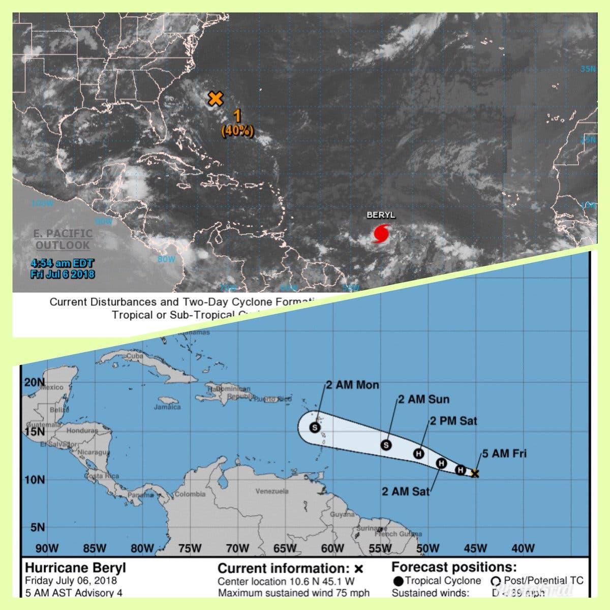 Beryl, el primer huracán del Atlántico va rumbo a Antillas Menores