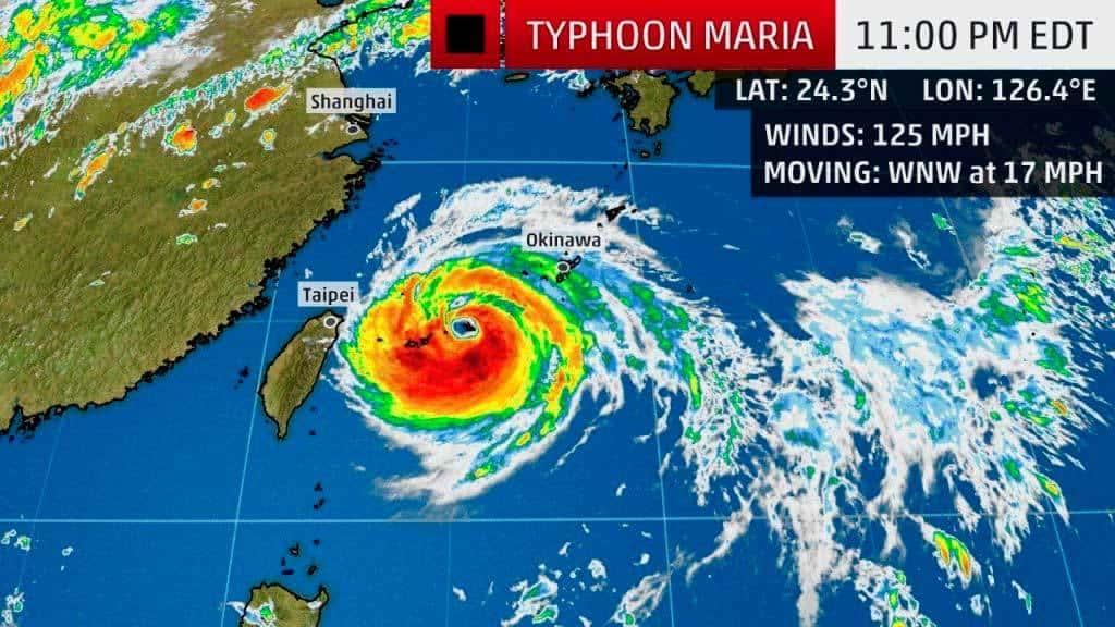 Taiwán cierra escuelas y ordena evacuaciones, ante impacto de tifón María