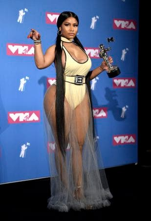 "1. Nicki Minaj poses in the press room with her award for best hip-hop video for ""Chun-Li"" at the MTV Video Music Awards at Radio City Music Hall on Monday, Aug. 20, 2018, in New York. (Photo by Evan Agostini/Invision/AP)"
