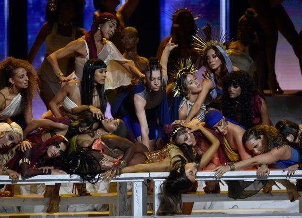 "10. Ariana Grande, bottom center, performs ""God is a woman"" at the MTV Video Music Awards at Radio City Music Hall on Monday, Aug. 20, 2018, in New York. (Photo by Chris Pizzello/Invision/AP)"
