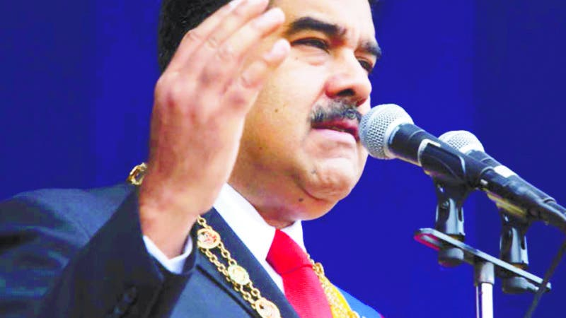 In this photo provided by the Miraflores Presidential Palace, President Nicolas Maduro speaks during a event marking the 81st anniversary of the National Guard, in Caracas, Venezuela, Saturday, August 4, 2019. Venezuela's government says several explosions heard at a military event were an attempted attack on President Maduro. Information Minister Jorge Rodriguez said in a live broadcast that several drone-like devices with explosives detonated near the president. He said Maduro is safe and unharmed but that seven people were injured. (Miraflores Presidential Palace via AP)