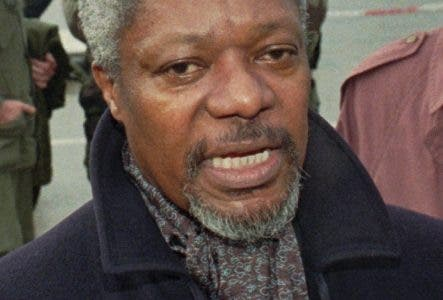 FILE - In this file photo dated  Tuesday, Nov 28. 1995, Special U.N. representative Kofi Annan on the tarmac of the airport in Sarajevo upon his arrival. Annan is to meet Bosnian government and the U.N. officials to discuss about the implementation of the Oct. 12 cease fire and the Dayton peace agreement. Kofi Annan, one of the world's most celebrated diplomats and a charismatic symbol of the United Nations who rose through its ranks to become the first black African secretary-general, has died aged 80, according to an announcement by his foundation Saturday Aug. 18, 2018. (AP Photo/Rikard Larma, FILE)
