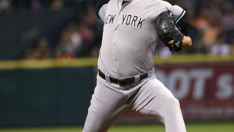 New York Yankees relief pitcher Dellin Betances throws against the Houston Astros during the ninth inning of a baseball game Friday, June 26, 2015, in Houston. The Yankees won 3-2. (AP Photo/David J. Phillip)