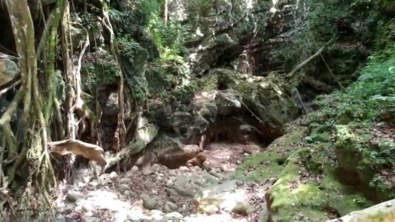 Un tramo seco del río Mulito, en Pedernales, desde Mencía, donde está la obra de toma de la hidroeléctrica casi hasta Boca de Tanjón, que es un tramo de más de cuatro kilómetros. HOY/ Fuente Externa. 27/08/2018