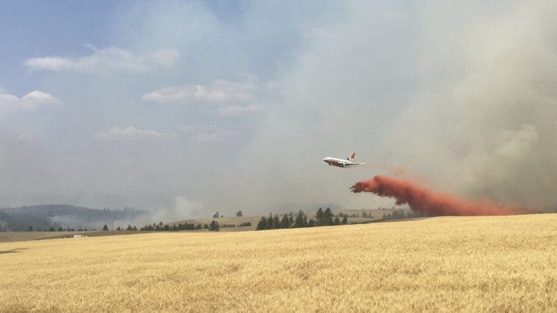 In this photo released by The Eastern Area Incident Management Team, a Very Large Air Tanker (VLAT) drops retardant on a wheat field as crews continue to battle a wildfire in eastern Washington state Sunday, Aug. 5, 2018.  (Eastern Area IMT via AP)