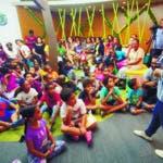 la charla «Un país sin plásticos», una iniciativa de la vicepresidenta  que busca educar a los niños de 8 a 13 años de edad sobre el daño que hace el plástico al medioambiente. en la Biblioteca Rep. Dom. 2 de agosto del 2018. Foto Pedro Sosa