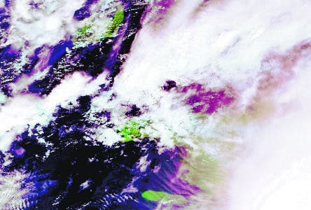 A picture released by the European Space Agency (ESA) and taken by Envisat shows new tropical storm Noel moving westward across the Caribbean Sea, 29 October 2009. Noel has formed south of Haiti and the Dominican Republic and is on a track to cross southwest Haiti early and hit southern Cuba, the US National Hurricane Center announced 28 October. Noel, the 14th named storm of the Atlantic hurricane season, was located at 235 kilometers (150 miles) south-southeast of Port-au-Prince at 2:15 pm (18:15 GMT), the Miami-based center said.                  AFP PHOTO / ESA