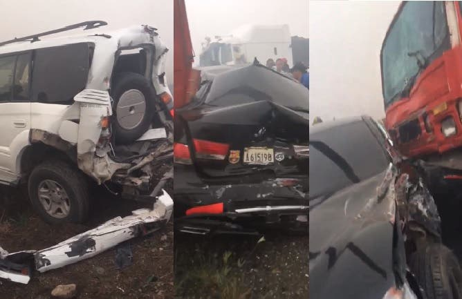 Videos: Mira cómo una densa humareda sobre la vía provoca accidentes en autopista Duarte