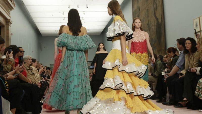 Models walk in finale of the Carolina Herrera spring 2019 collection during Fashion Week in New York, Monday, Sept. 10, 2018. (AP Photo/Richard Drew)