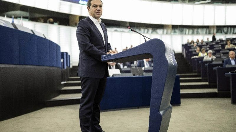 Greek Prime minister Alexis Tsipras debates the future of Europe with parliament members and commissioners at the European Parliament in Strasbourg, eastern France, Tuesday Sept.11, 2018. (AP Photo/Jean-Francois Badias)