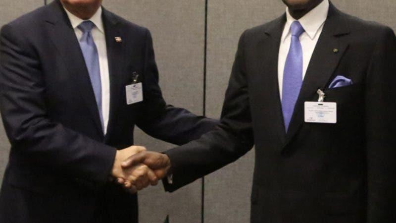El presidente Danilo Medina y su homólogo de Guinea Ecuatorial, Teodoro Obiang Nguema, durante reunión bilateral realizada hoy.Hoy//Fuente Externa 25/9/18