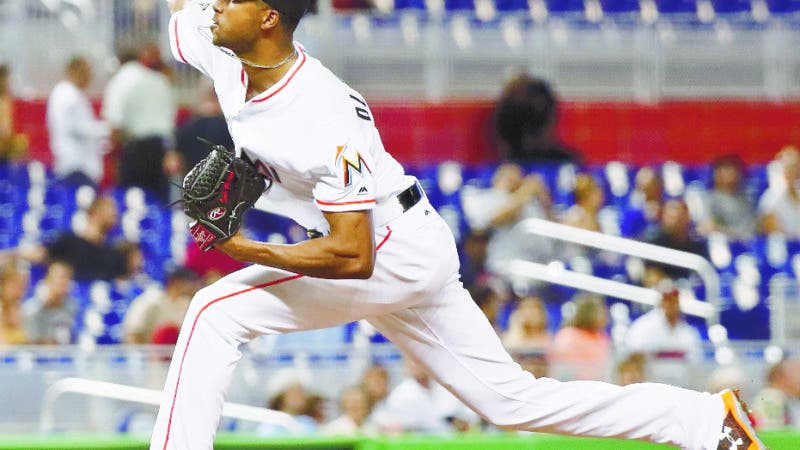 Miami Marlins' starting pitcher Sandy Alcantara delivers during the first inning of a baseball game against the Philadelphia Phillies, Wednesday, Sept. 5, 2018, in Miami. (AP Photo/Brynn Anderson)
