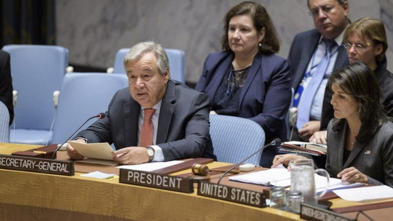 In this photo provided by the United Nations, UN Secretary-General António Guterres, left, delivers remarks Monday, Sept. 10, 2018, at a Security Council meeting on maintenance of international peace and security as he sits next to United States U.N. Ambassador Nikki Haley, right, who is also serving as president of the Security Council for the month of September, at UN headquarters. (United Nations/Manuel Elias via AP)