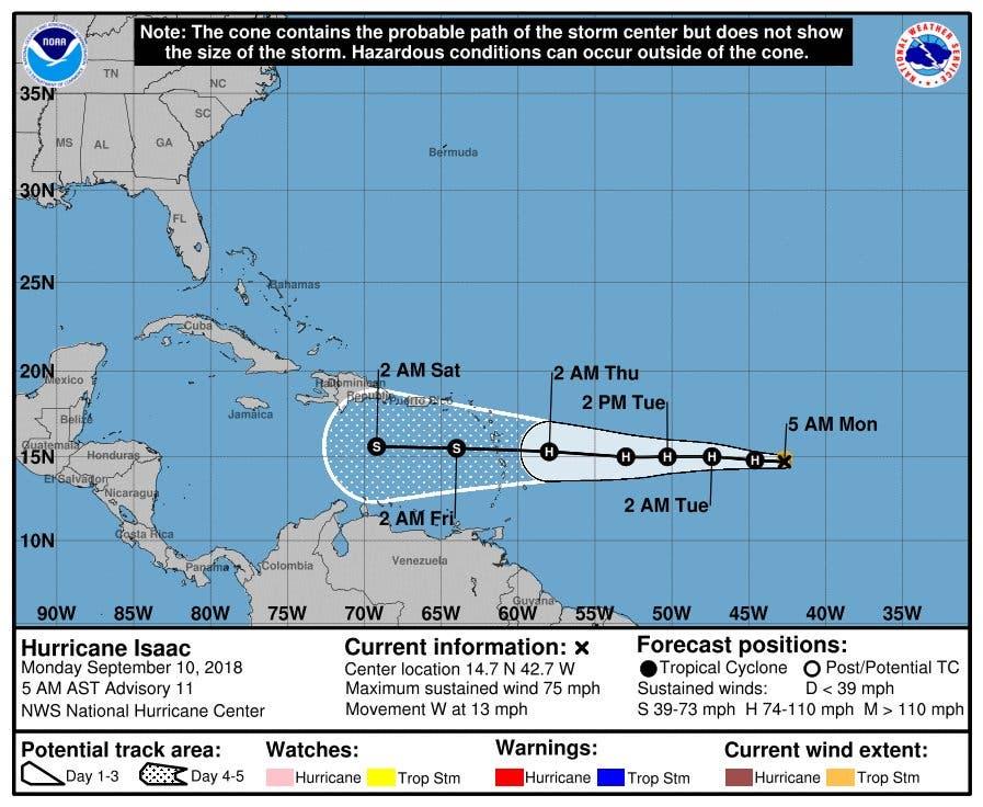 Isaac se convierte en huracán y amenaza las Antillas Menores