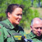 "FILE - In this April 26, 2018, file photo, U.S. Border Patrol Acting Chief Carla L. Provost, left, meets with members of the media south of Falfurrias, Texas. Immigration authorities detain and process thousands of people every month who cross the U.S. border without permission. But when detained people try to make claims of misconduct, advocates say they run into a series of hurdles and issues that make their complaints difficult to substantiate. Border Patrol chief Provost said in a recent interview that her agency takes any allegations against any of its 19,000 agents ""very, very seriously."" (Joel Martinez/The Monitor via AP File)"