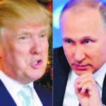 """(COMBO) This combination of pictures created on December 30, 2016 shows a file photo taken on December 28, 2016 of US President-elect Donald Trump (L) in Palm Beach, Florida; and a file photo taken on December 23, 2016, of Russian President Vladimir Putin speaking in Moscow.  Trump on December 30, 2016, praised Putin for not reacting immediately to Washington's move to punish it over alleged election-related interference. """"Great move on delay (by V. Putin) - I always knew he was very smart!"""" Trump tweeted. / AFP / DON EMMERT AND Natalia KOLESNIKOVA"""