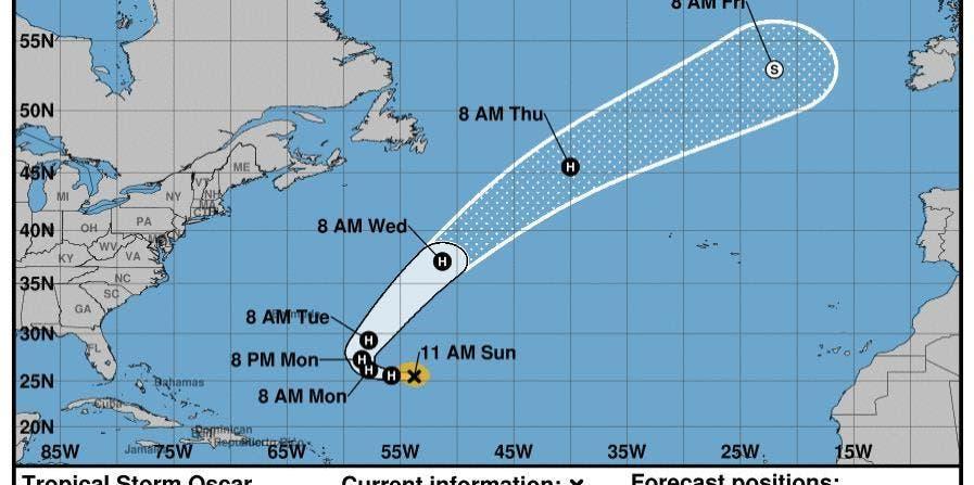 Oscar toma fuerza de tormenta tropical; no amenaza tierra