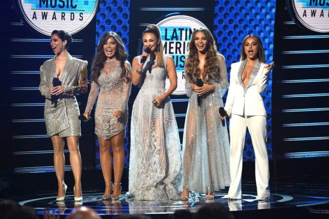2. Hosts Roselyn Sanchez, from left, Gloria Trevi, Aracely Arambula, Leslie Grace and Becky G appear on stage at the Latin American Music Awards at the Dolby Theatre on Thursday, Oct. 25, 2018, in Los Angeles. (Photo by Chris Pizzello/Invision/AP)
