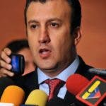 (FILES) This file picture taken on November 10, 2011 shows Venezuela's (then) Interior and Justice Minister, Tareck El Aissami talking to the press in Caracas on November 10, 2011. Venezuela's leader Nicolas Maduro on January 4, 2017 named Tareck El Aissam as his new vice-president, who would take over from him if he were removed from office this year as the opposition demands. Maduro said in a televised address that he had named El Aissami, 47, a powerful state governor, to the post for the 2017 to 2018 period.  / AFP / Leo RAMIREZ