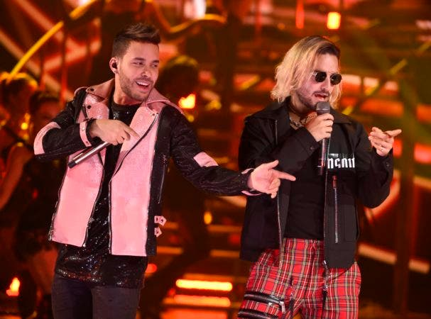 """4. Prince Royce and Maluma perform """"El Clavo"""" at the Latin American Music Awards at the Dolby Theatre on Thursday, Oct. 25, 2018, in Los Angeles. (Photo by Chris Pizzello/Invision/AP)"""