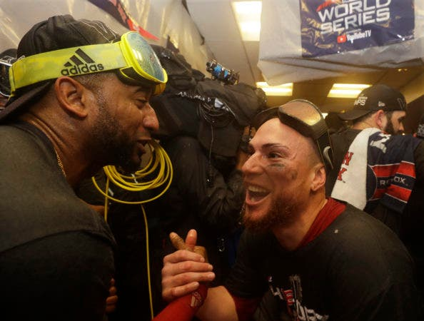 14. Eduardo Nunez, left, Christian Vazquez The Boston Red Sox celebrate in the clubhouse after Game 5 of baseball's World Series against the Los Angeles Dodgers on Sunday, Oct. 28, 2018, in Los Angeles. The Red Sox won 5-1 to win the series 4 games to 1. (AP Photo/Elise Amendola)