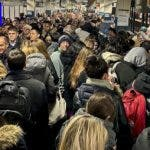 This photo provided by Ava Friedlander on Friday, Nov. 16, 2018, shows MTA commuters crowding a Times Square subway station during Thursday's snowstorm in New York. The first snowstorm of the season gave way to rain and high winds, forcing substantial commuter delays. (Ava Friedlander via AP)