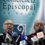 "Catholic Priests Fernando Ramos, left, and Juan Ignacio Gonzalez, spokespersons for the Episcopal Conference, speak to the press about a letter from Pope Francis in Santiago, Chile, Thursday, May 31, 2018. Pope Francis became the first pope to publicly denounce a ""culture of abuse and cover-up"" in the Catholic Church, saying Thursday in a pastoral letter to the Chilean faithful, that he was ashamed that neither he nor Chile's Catholic leaders truly ever listened to victims as the country's abuse scandal spiraled. (AP Photo/Luis Hidalgo)"