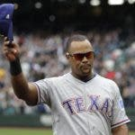 FILE - In this Sept. 30, 2018, file photo, Texas Rangers' Adrian Beltre tips his cap as he walks off the field during the fifth inning of a baseball game against the Seattle Mariners, in Seattle. Beltre has decided to retire after 21 seasons and 3,166 hits in the majors leagues. Beltre announced his decision in a statement released by the Rangers on Tuesday morning, Nov. 20, 2018. (AP Photo/Ted S. Warren, File)